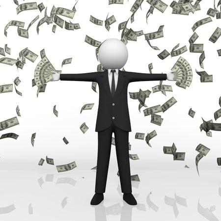 businessman money Falling Isolated On White Background