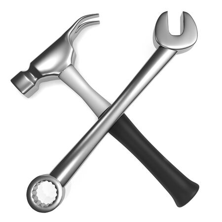Spanner and Hammer  isolated on white background