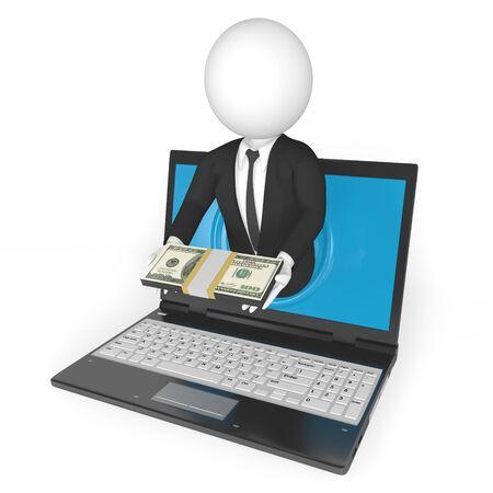making money online isolated on white background