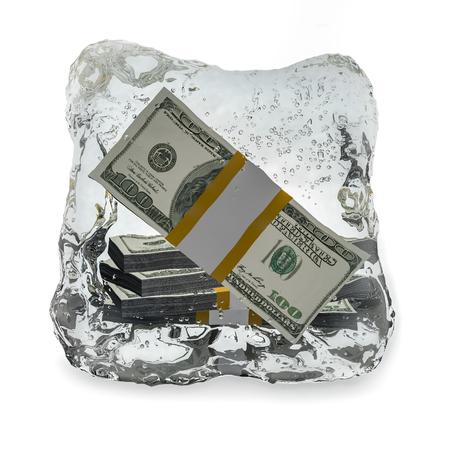 Frozen dollar  isolated on white background