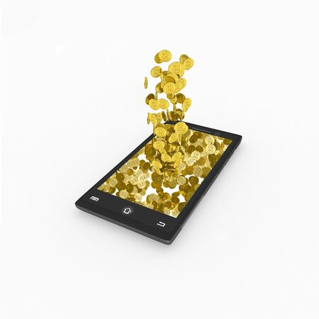 3D render Golden coins  out of Mobile Stock Photo