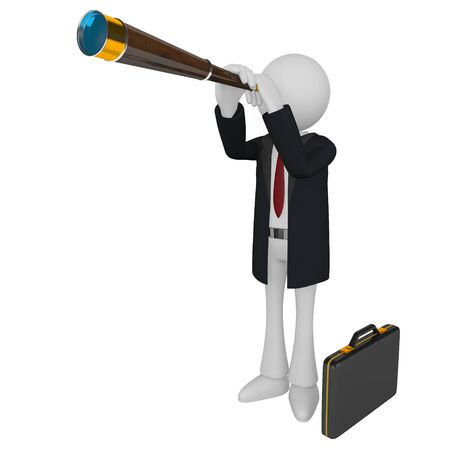 Businessman binoculars isolated on white background