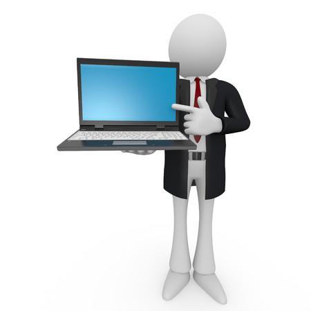 Businessman showing laptop   isolated on white background