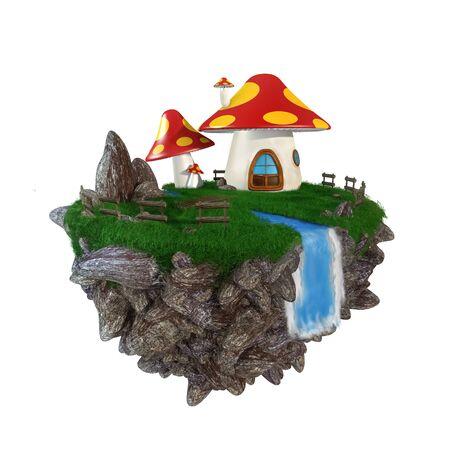 mushroom Home  isolated on white background Stock Photo