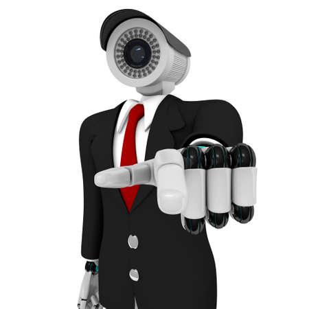 Security man  isolated on white background Stock Photo