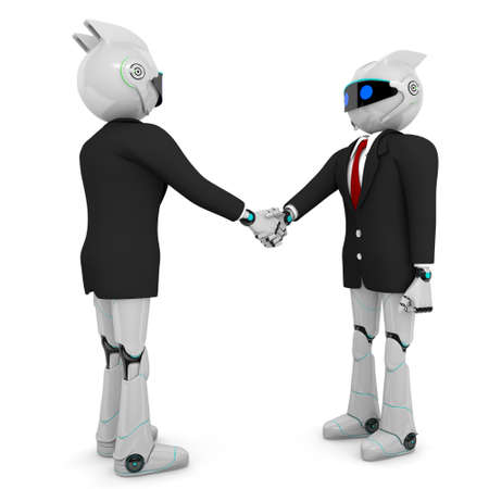 robot shaking hands   isolated on white background