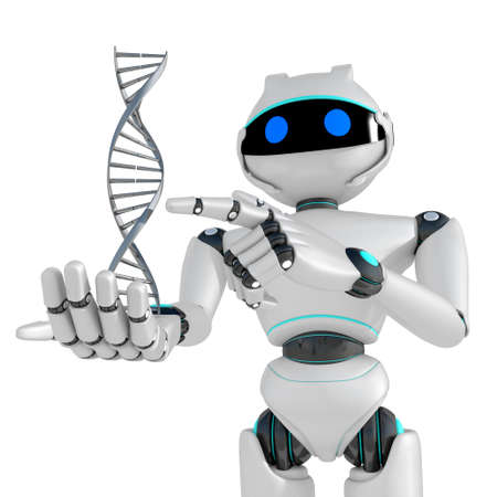 Robot DNA isolated on white background