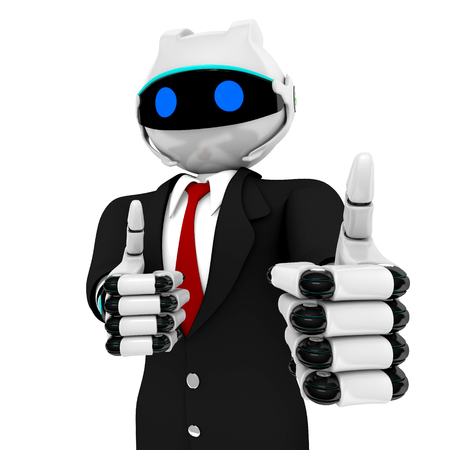Business Robot 3D render  isolated on white background Stock Photo