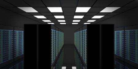 3D render server room Data Center