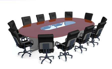 vergadertafel op een witte achtergrond