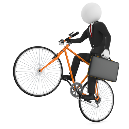 businessman riding a bicycle isolated white background