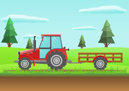 Farm red tractor   Heavy agricultural machinery vector illustration