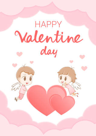 Happy valentine's day Heart love Cute character background paper