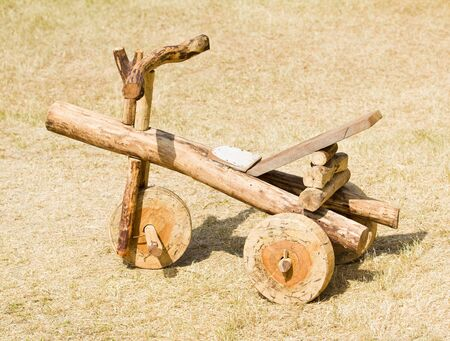 Car toy made of wood. photo