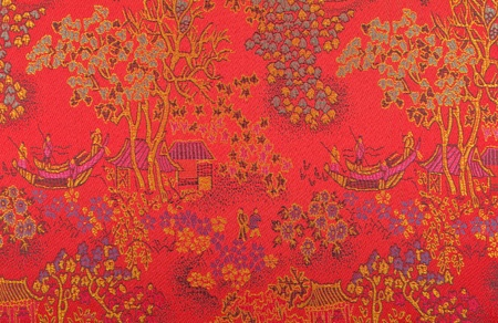 chinese background: Chinese art on fabric.