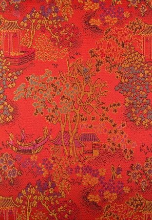 linen fabric: Chinese art on fabric.