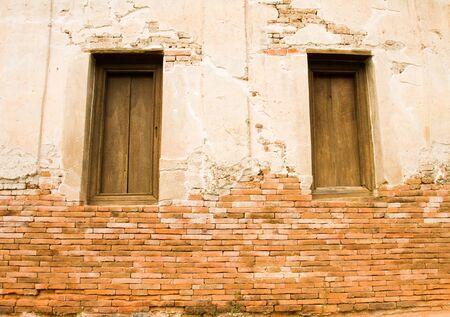 Ściana zabytkowego kościoła ma ponad 300 years.Wat Muen Wai, Nakhon Ratchasima Tajlandii Zdjęcie Seryjne