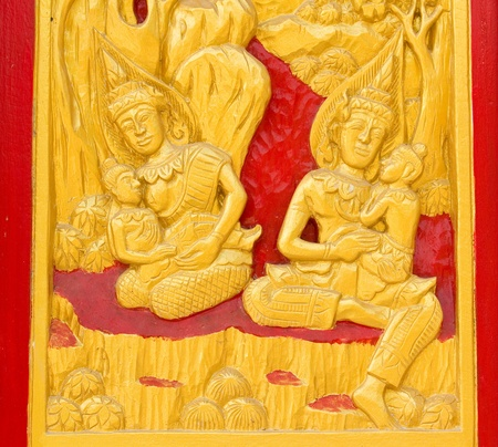 Traditional Thai art by wood carvings on a window in a temple  Wat Kham Thale So ,NAKORNRATCHASIMA,THAILAND Stock Photo - 13361947