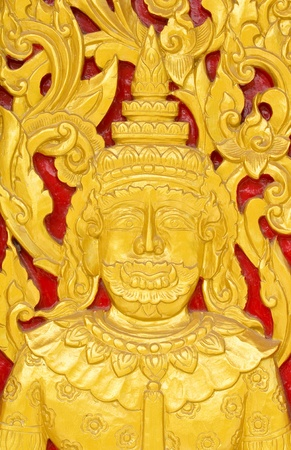 Traditional Thai art by wood carvings on a window in a temple  Wat Kham Thale So ,NAKORNRATCHASIMA,THAILAND Stock Photo - 13361955