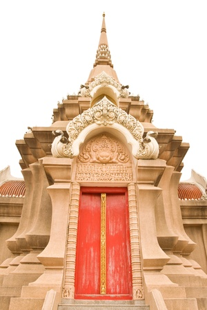 Red door in a temple  Wat Liab ,NAKORNRATCHASIMA,THAILAND photo