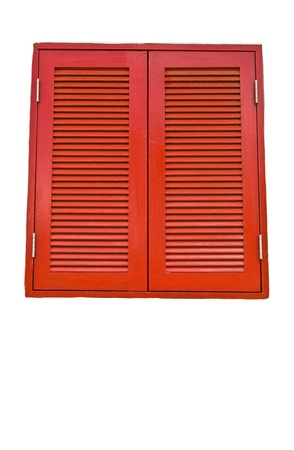 Stock Photo  Red window with White isolation  photo
