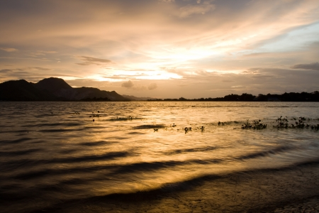 Stock Photo  Rivers and mountains at sunset time,Kanchanaburi Thailand   photo