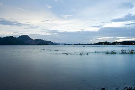 Rivers and mountains after sunset time,Kanchanaburi Thailand   Stock Photo - 14574749