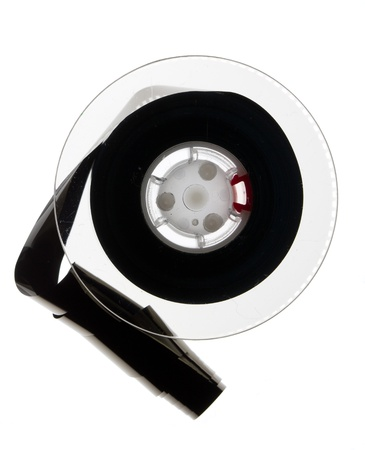 Old mini digital video tape isolated on white  photo