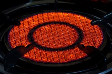 Pożar gazu z kuchenki gazowej kuchni Zdjęcie Seryjne