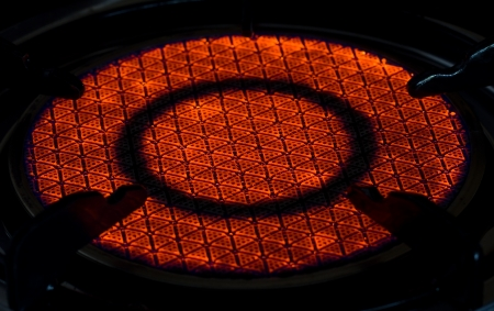 Gas fire from a kitchen gas stove