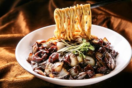 Jajangmyeon, jajangmyeon, black-bean-sauce noodles Stock Photo