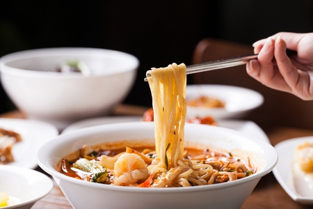 jjamppong, Chinese-style noodles with vegetables and seafood, chaomamian