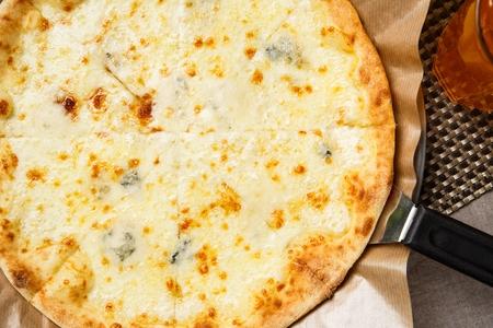 gorgonzola: Gorgonzola pizza on table