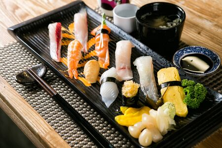Assorted sushi Stock Photo