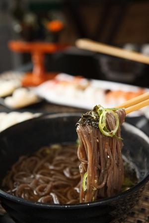 japanese cookery: buckwheat soba noodles