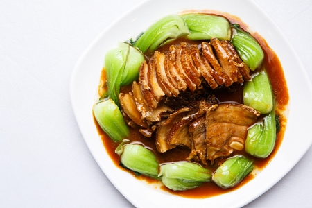 Fried Pork Belly in Soy Sauce Stock Photo