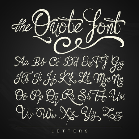 letters of the alphabet: Handwritten calligraphy quote font white on the blackboard background