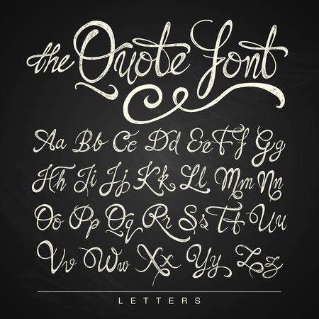 abecedario: Manuscrito blanco fuente cita caligrafía en el fondo de la pizarra