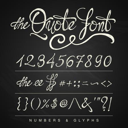 numeros: Manuscrito blanco fuente cita caligrafía en el fondo de la pizarra
