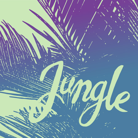 Jungle ink phrase on the colorful palm tree background