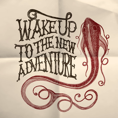 Illustration of a fish with Wake up to the new adventure hand drawn quote on the white paper textured background