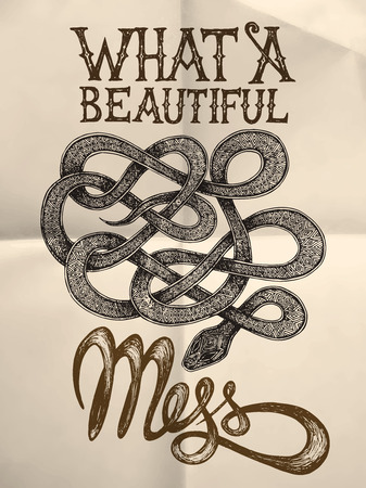 Illustration of a snake with What a beutiful mess hand drawn quote on the white paper textured background