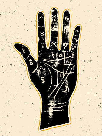 Black palmistry hand on a white textured background