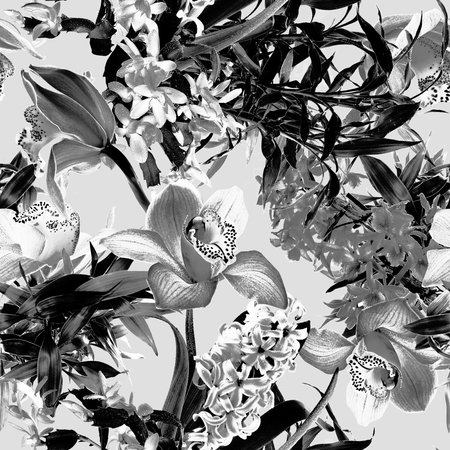 Tropical flower pattern - black and white