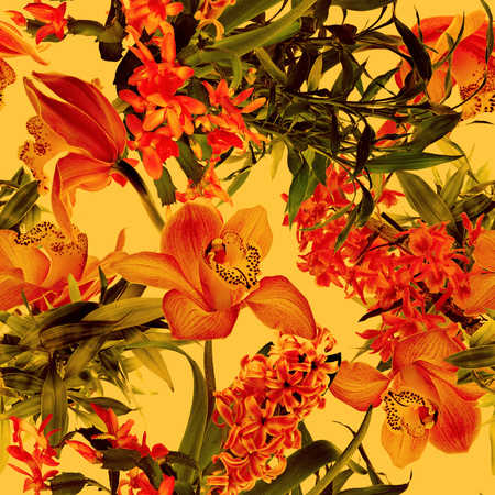 Tropical flower pattern on orange background