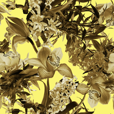 Tropical flower pattern on yellow background