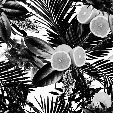 Tropical black and white lemon pattern