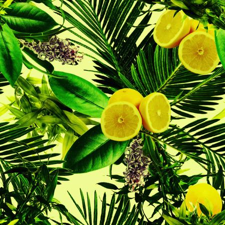 Tropical green lemon pattern Stok Fotoğraf