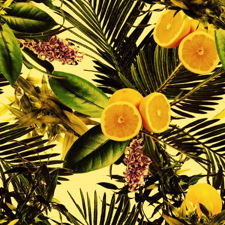 Tropical yellow lemon pattern Stok Fotoğraf