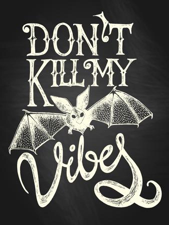 Illustration of flying bat with